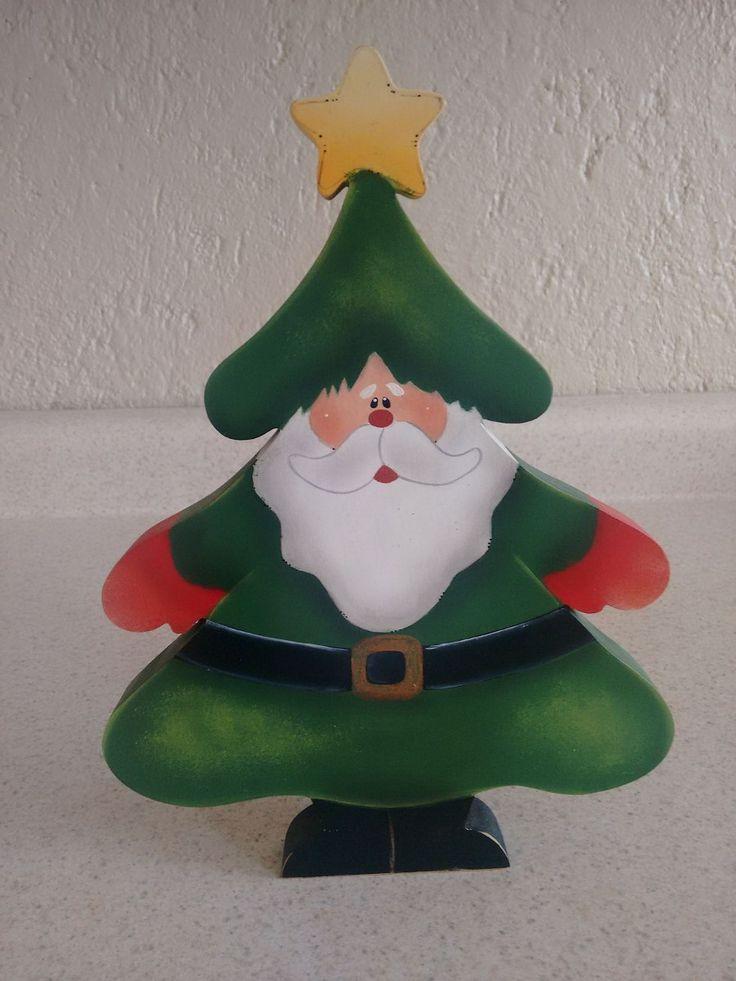 Adorno Santa Claus/pino De Mdf Navideño Pintado A Mano - $ 120.00 en MercadoLibre
