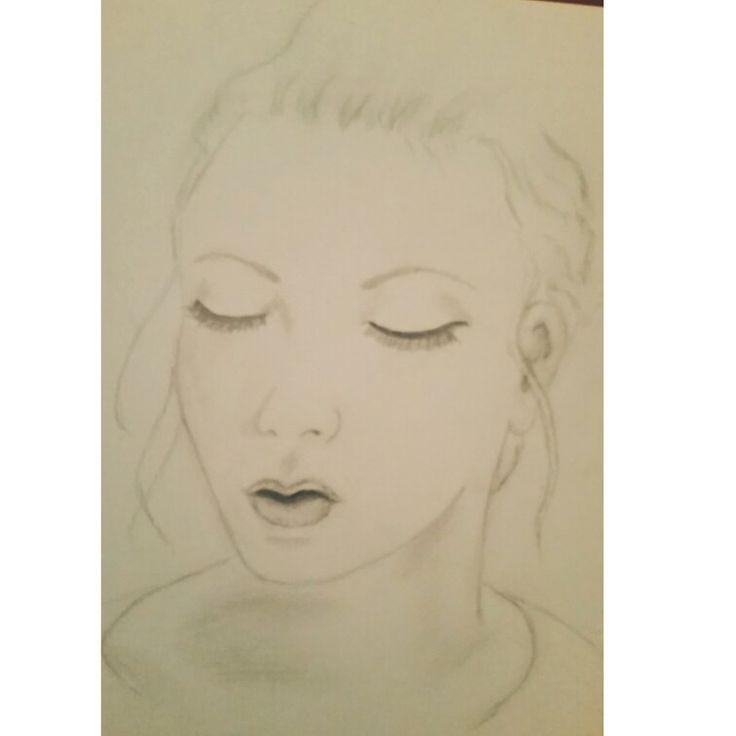 Sketch of girl looking downwards