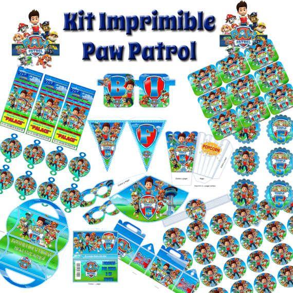 Kit Imprimible y editable de Paw Patrol Patrulla Canina  Mesa