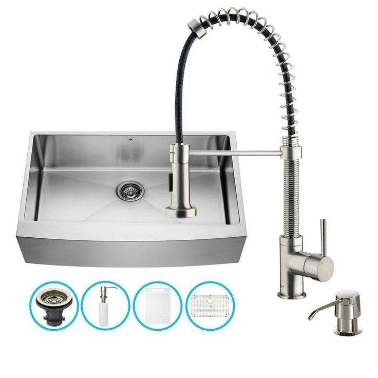 VIGO X Matte And Brushed Steel Stainless Single Basin Apron Front And  Farmhouse Commercial And Residential Kitchen Sink All In One Kit