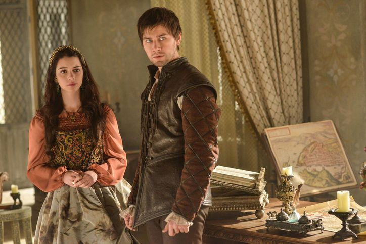 Mary wears a blouse, a skirt and a corset from Les Habitudes / For You Romantics: Valentine's Day Style From Reign's Costume Designer / Reign TV Show Fashion
