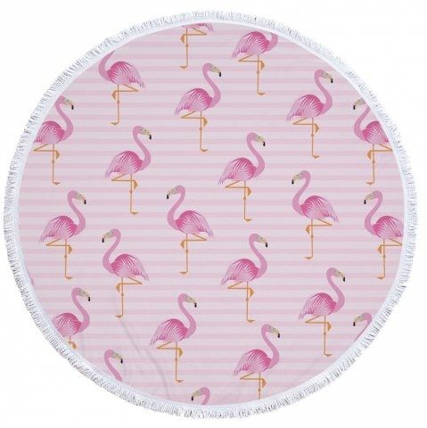 Flamingo Beach Towel  Thick Terry Round Beach Towel Blanket Yoga Mat with Fringe Tassels 60 Inch