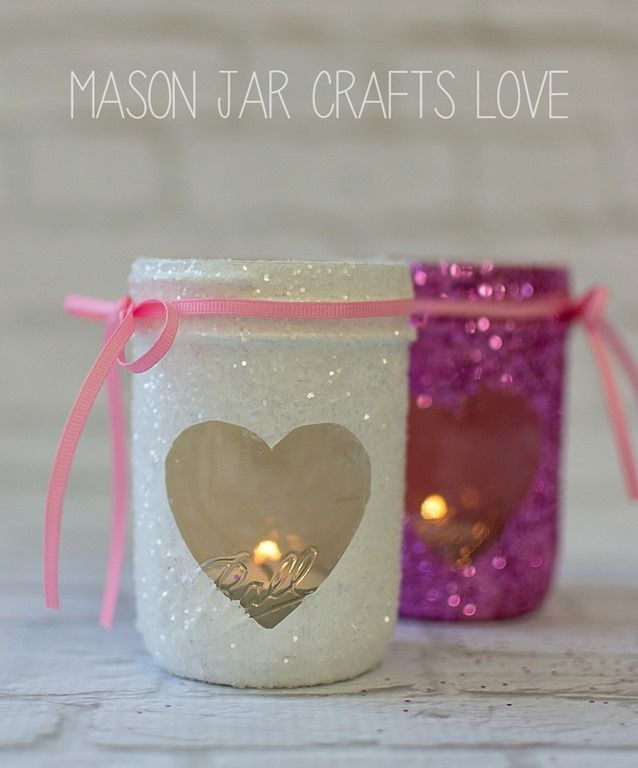 There's a lot of glitter … and glittering …  going on around here. I'm pretty sure I'll be vacuuming up glitter right on up until Valentine's Day. And probably beyond …   Glitter never really, truly goes away, does it?   But these mason jar heart votives turned out so cute. Definitely worth glittergeddon!   …