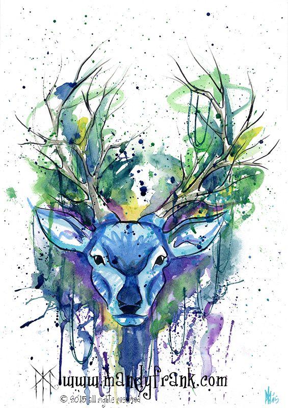 #deer #watercolor #artwork #mandyfrank #illustration #hamburg2016