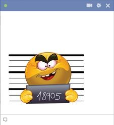 Send a mug shot Facebook smiley! Hopefully you're not really messaging from jail..