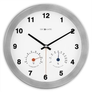 DecoMates Non-Ticking Silent Wall Clock with Built-in Thermometer (Fahrenheit) / Hygrometer - Modern Multiplex (White): Amazon.co.uk: Kitchen & Home
