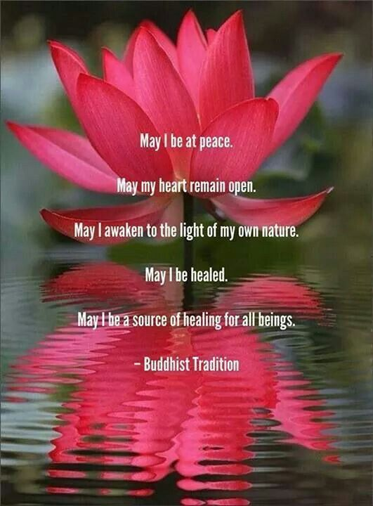"""May I be at peace. May my heart remain open. May I awaken to the light of my own nature. May I be healed. May I be source of healing for all beings."" Buddhist tradition"