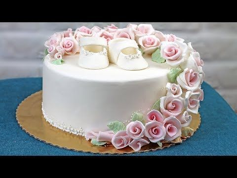 Orchideli - christenning or wedding cake with pink roses. Cake for girl, baptism cake, first communion cake.