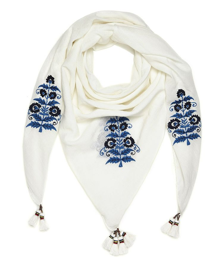Kefia di cotone bianco con ricami floreali blu