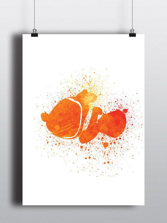 Finding Nemo Poster Print - Nemo   Watercolour   Disney Pixar   A2 Size-Resizable   Printable   Digital Download   Nursery Art   Minimalist