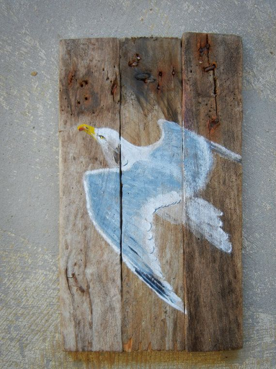 For sale up-cycled seagull on Etsy Driftwood beach house art. Sea gull painted on repurposed lobster trap wood. Still smells of the ocean.~~♥♥LOVE!