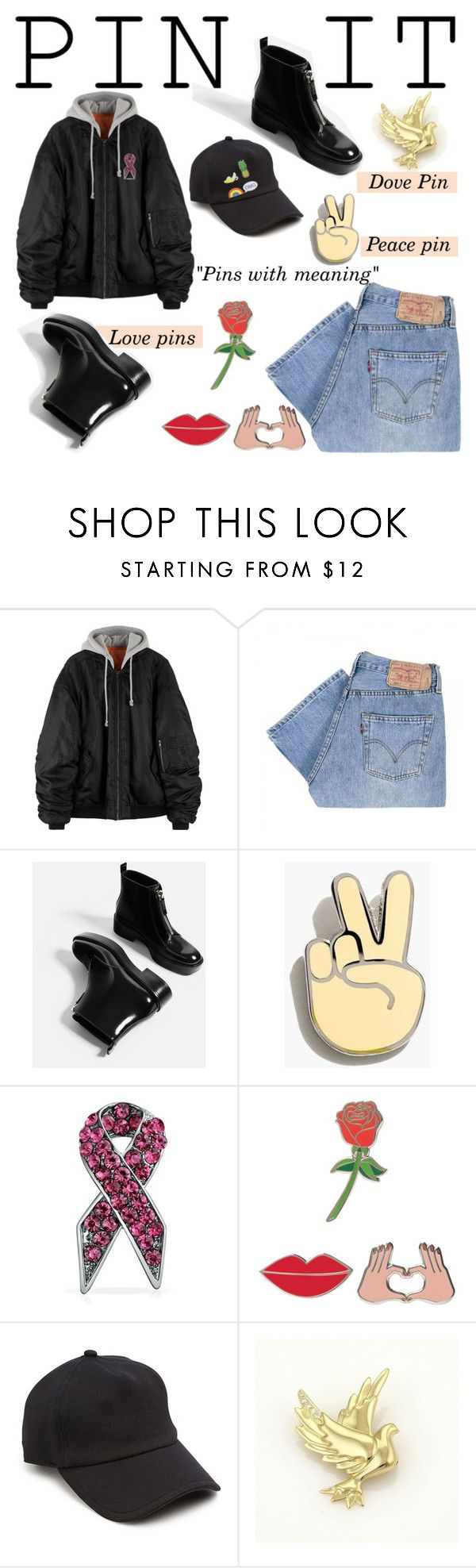 """""""Pins with meaning"""" by nora-jakucs ❤ liked on Polyvore featuring Levi's, Madewell, Bling Jewelry, iDecoz, rag & bone, Tiffany & Co. and Eye Candy"""