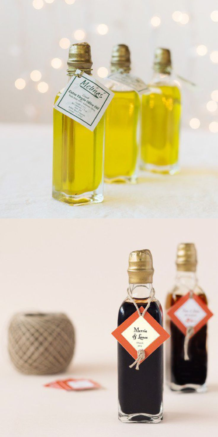If you are planning a big, Italian-themed wedding these mini oil and vinegar bottles are a practical and fun favor that your guests will love. Also perfect as bridal shower favors, rehearsal dinner favors and wedding decorations.