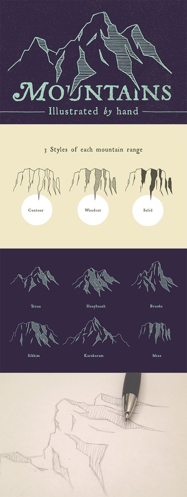 Design poster urging mountaineers preserve pristine glory mountainsides - The Mountains Are Calling