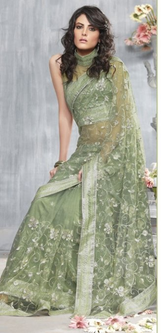 A net saree pale sage green