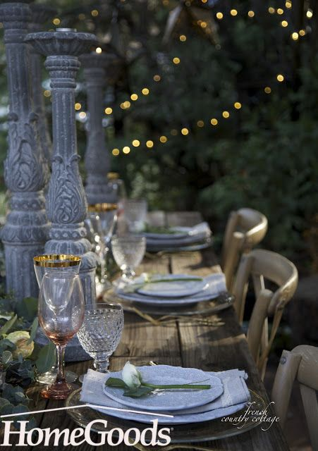 Soft lighting and wild flowers make an enchanting party setting. If you stick with pastels like blush and faded blue, mixing and matching is seamless. Decorate your outdoor home party with inspiration from your local HomeGoods store!
