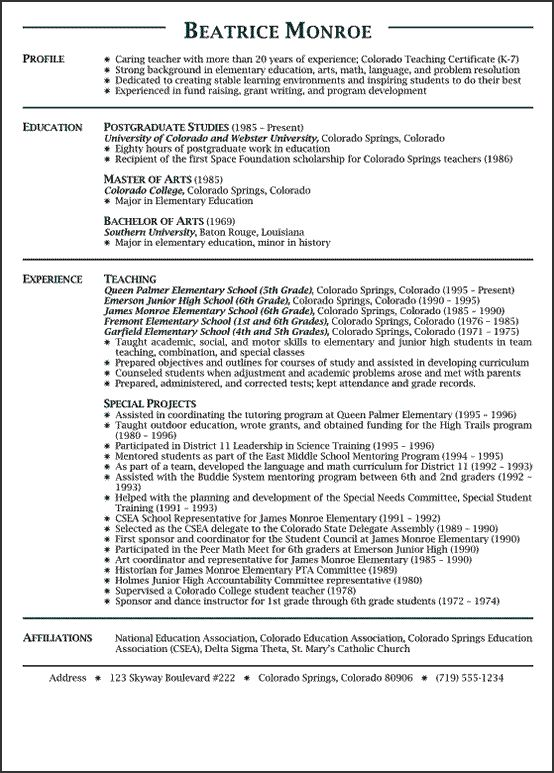 Sample Of Teachers Resume  Resume Cv Cover Letter