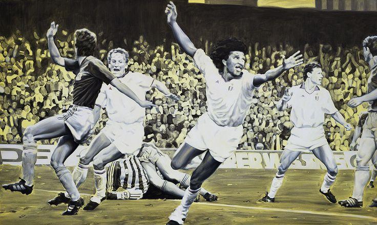 Milan - Steaua Bucarest, Barcelona 1989 - Artwork by artist Andrea Del Pesco Oil painting on canvas, size cm. 100x60