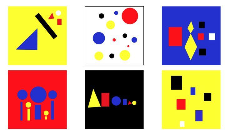 Kleur tegen kleur contrast: De primaire kleuren: rood, blauw en geel. Met wit en zwart wordt het contrast nog sterker