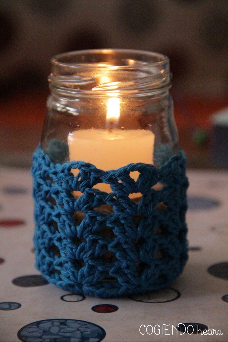Cogiendo Hebra: Reto amoroso. Funda porta velas a ganchillo