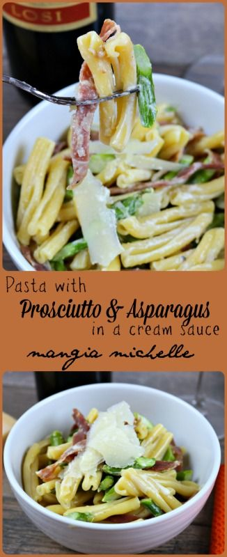 Pasta with asparagus and prosciutto is a creamy and decadent dish that is easy enough to make any night of the week ~ www.mangiamichelle.com