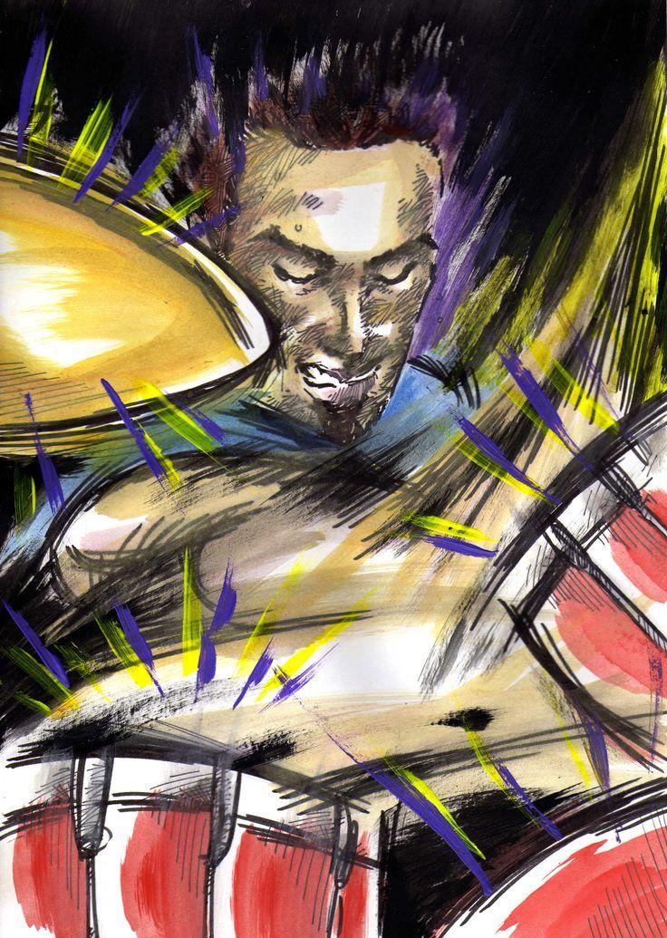 Gaetano Denaro, batterista dei Tintinnabula. Acrilici, acquarelli e china su A4