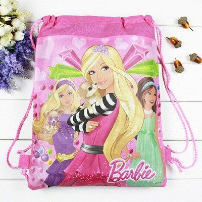 1 pieces / los Barbie Cartoon drawstring children's school bags, kids birthday party Favor, Mochila escolar, school kids backpac