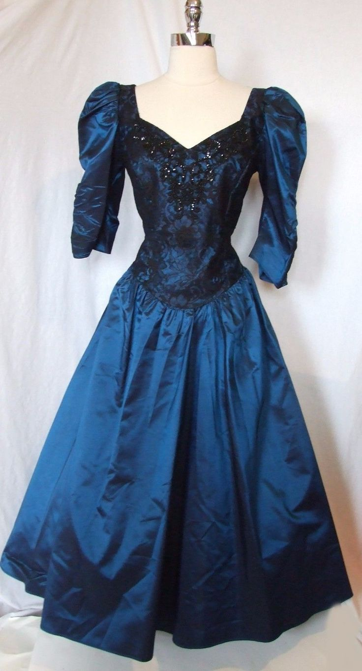 Chic Vintage 80s LACE Taffeta PUFF SLEEVE Irridescent Prom Party DRESS Gown M L