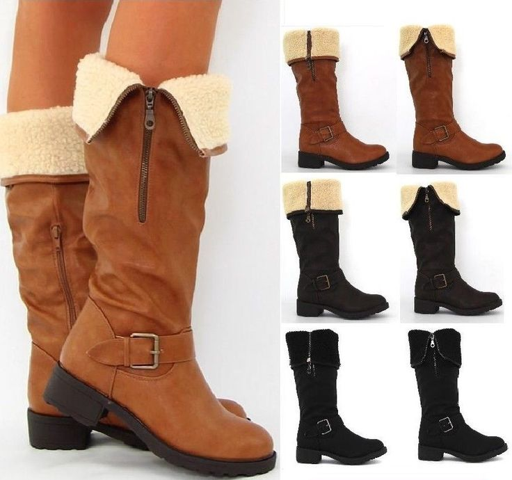 New Womans Black BrownTan Fleece Wide Fur Zips Collar Cuff Knee High Calf Boots #TillyLondon #FashionKneeHigh