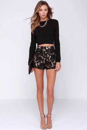 Cute Black Shorts - Lace Shorts - High Waisted Shorts - $38.00