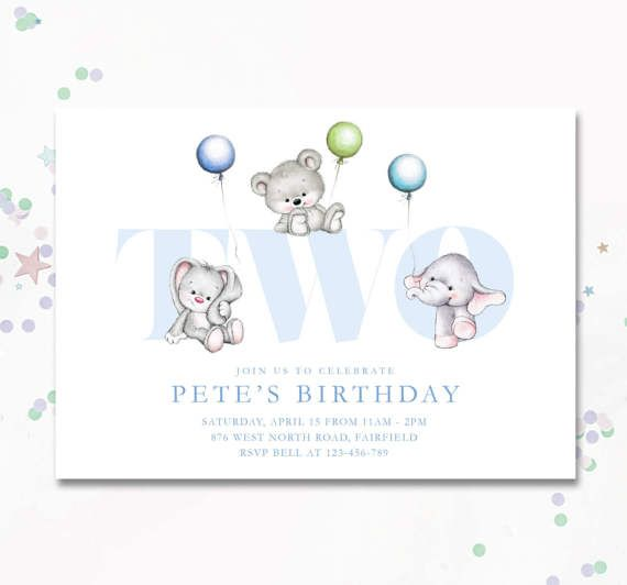 Second Birthday Boy two invite two year old party by MotifVisuals