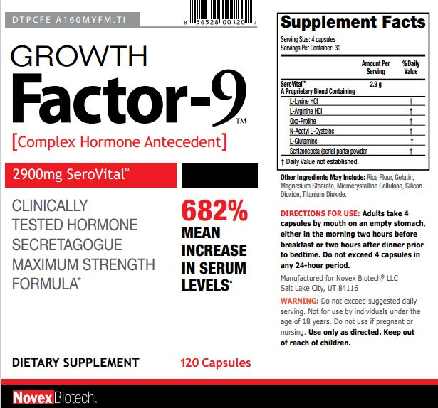 Growth Factor 9 By Novex Biotech - Ingredients Same As SeroVital? HGH are more known for the injection prescription kind, but this Growth Factor 9 claims it's a complete natural supplement to produce HGH in a safe way and won't cause no side effects. The
