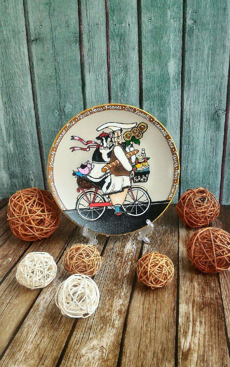 Купить Декоративная тарелка Официант на велосипеде 21 см ручная роспись - купить тарелку