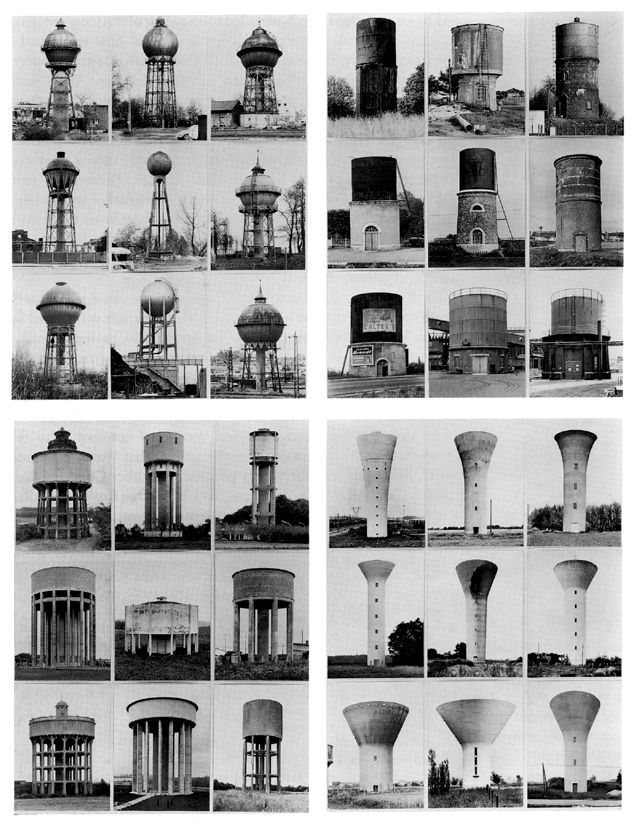 retroreverbs:  Bernd & Hilla Becher - Typology of Water Towers (1972).