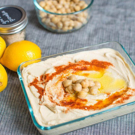 An easy hummus for the weekend that will beat the socks off of any store-bought version!