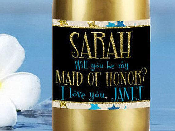Will you be my bridesmaid Mini Champagne Label by LabelByLoveArts