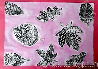Kids Artists: Patterned leaves