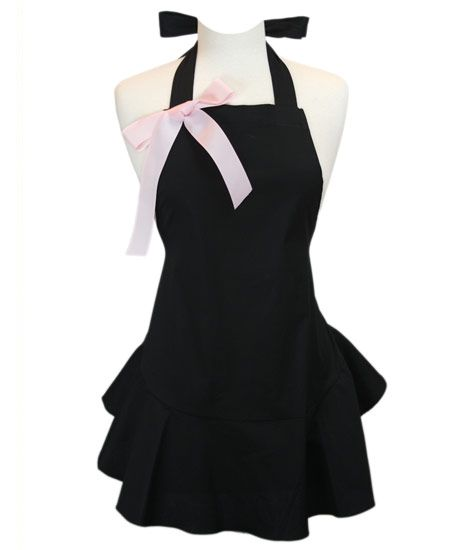 Black Apron with Pink Bow Ruffle Bottom Jenny