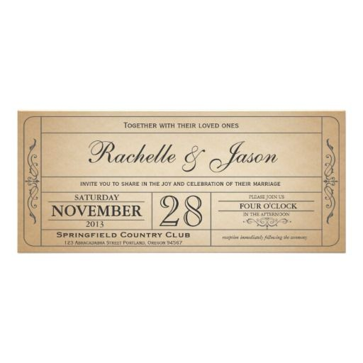 59 best Wedding invite ideas images on Pinterest Invitation - invitation ticket