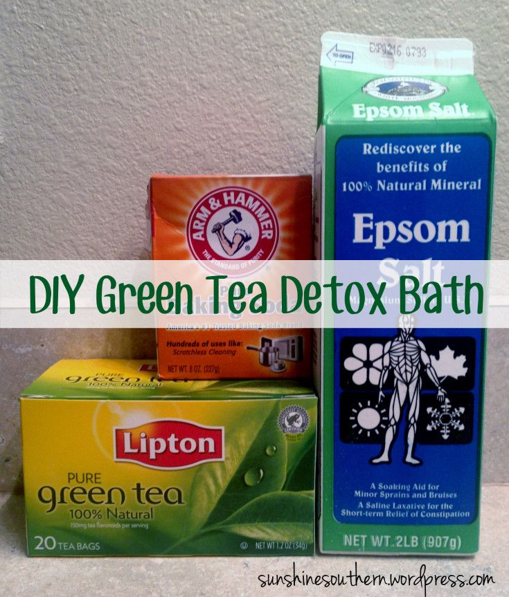DIY Green Tea Detox Bath 2 cups of epsom salt, 2 cups baking soda Green tea bags (2-5 bags) as Antioxidant, relaxes body, soothes sore muscles and rashes; Apple Cider Vinegar (1/2-2 cups) Anti-inflammatory, softens skin; Ground Ginger (1 tbsp – a handful) Increases circulation, promotes sweating, helps open pores, helps in pain relief Lemon halves/lemon juice (1 tbsp – 1/3 cup) Antioxidant, brightens skin Olive Oil (1 tbsp – 1/3 cup) Moisturizes skin