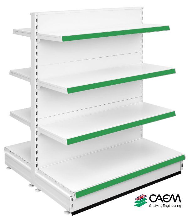Caem S50 - Extra Narrow Double Sided Modular Shelving Unit - Jura White Ral 9001