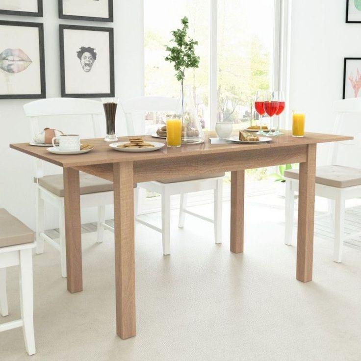 Modern Home Dining Table Rectangular Light Brown Kitchen Room 2 Sides Extension #ModernHomeDiningTable #Modern