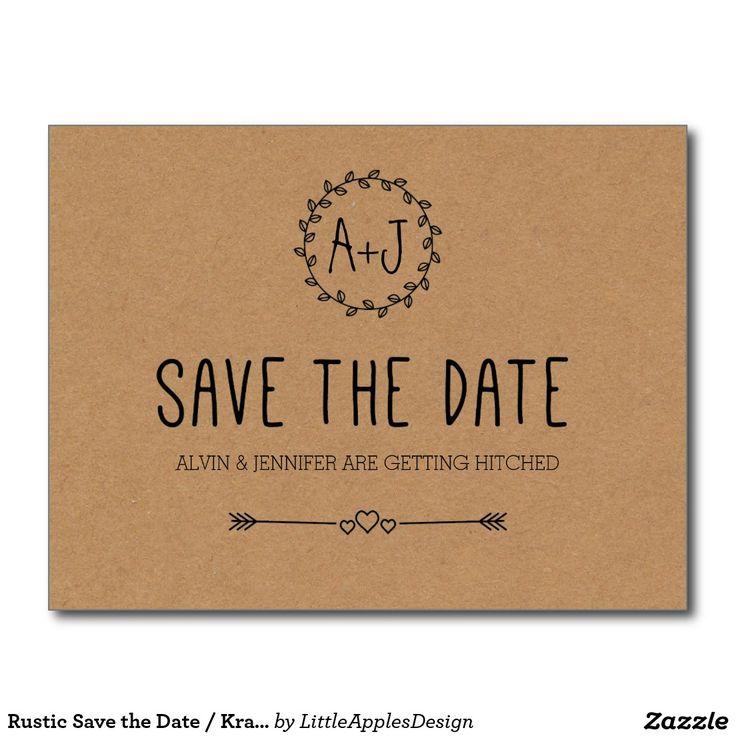 Rustic Save the Date / Kraft Paper Save the date Postcard / Simple / Kraft cardstock
