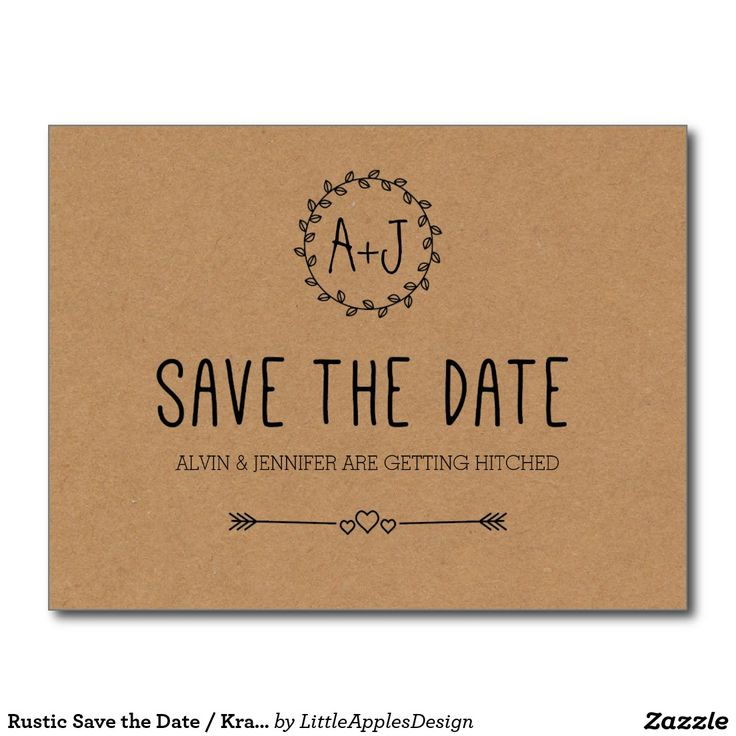 Rustic Save the Date / Kraft Paper Save the date Postcard / Simple / Kraft cardstock