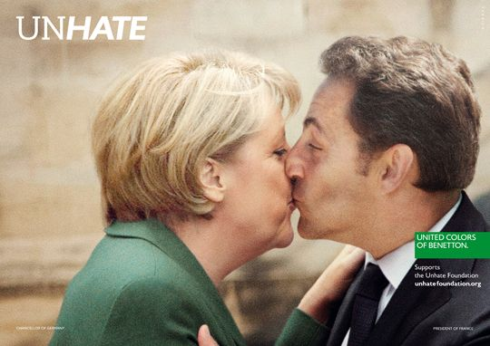 Italian brand Benetton's UNHATE campaign featuring Nicholas Sarkozy kissing Angela Merkel #Germany #France #politics