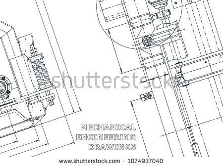 Blueprint Sketch Vector Engineering Illustration Cover Flyer