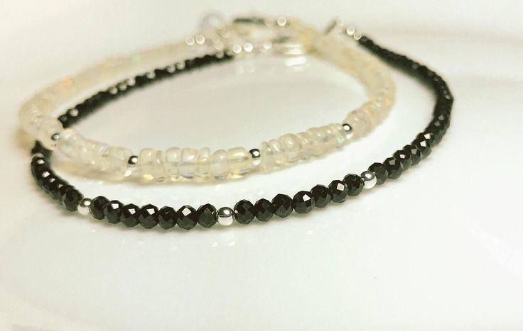 Delicate One Of A Kind Opal Gemstones Bracelet -Ethiopian Welo Opal Gemstone Bracelet