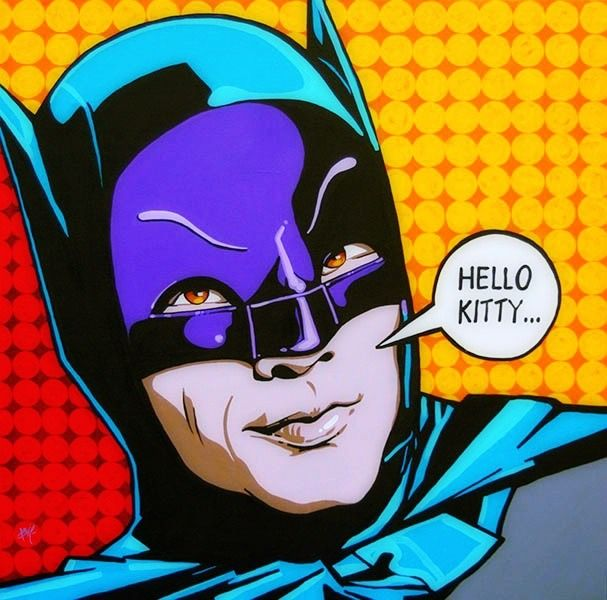 """Hello Kitty......."", Batman '66, Pop Art, Comic Book Art."