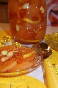 Айва+груши+лимон+миндаль=изумительное варенье рецепт с фотографиями... Ингредиенты  900 гр. айвы 500 гр. груши 1 кг. сахара 1 крупный лимон с тонкой шкуркой** 400 мл. фруктового «бульона»* 50 гр.очищенного миндаля