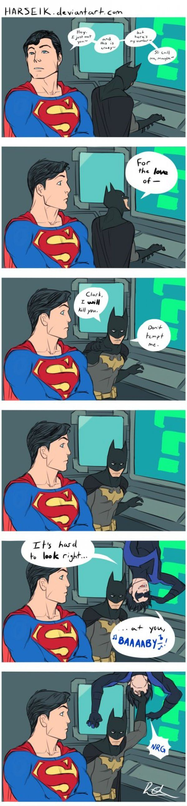 """I love how batman's just like """"I'll kill you."""" To superman but then Nightwing (Dick Grayson) shows up and he's like """"ugh, I can' till you I'll just shove my hand in your face."""""""